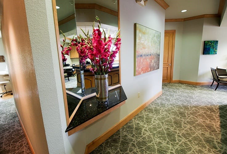 Flowers and artwork in waiting room